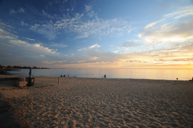 Brighton Beach at dusk.